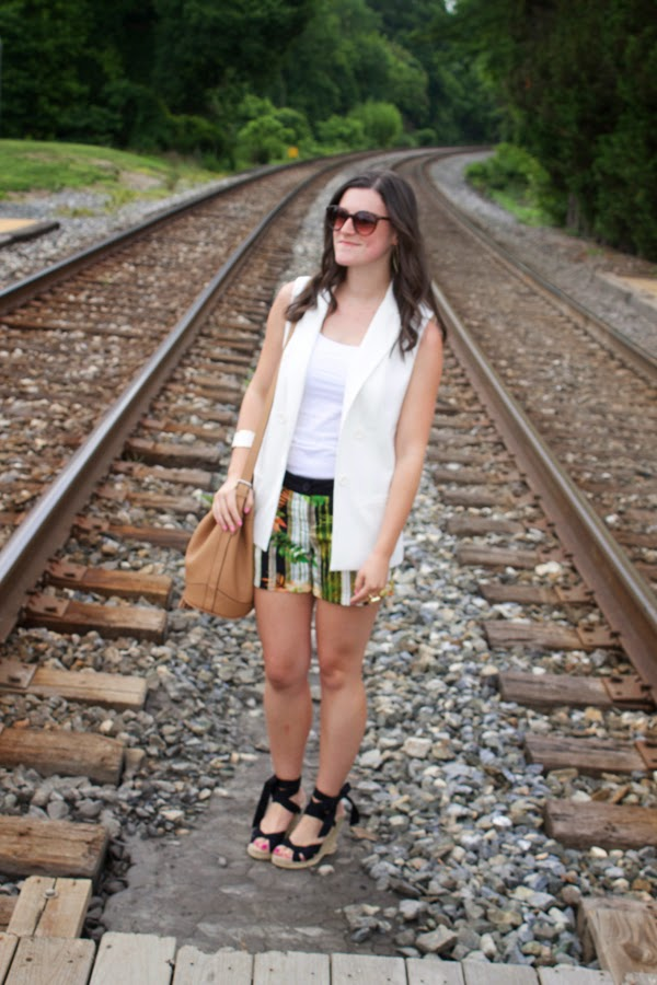 summer, tropical, white vest, target white vest, black wedges, Old Navy tassel bucket bag, LOFT sunglasses, House of Harlow ring