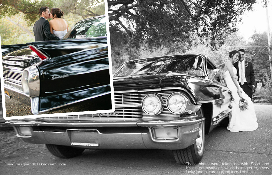 Bride and Groom, Romantics, Wedding pose with car,  Cadillac wedding, Weddings by Paige and Blake Green