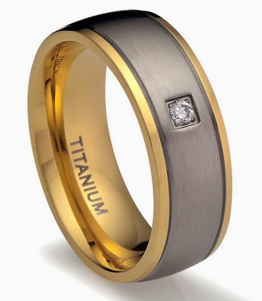 Mens Titanium Wedding Rings Gray Two Tone Gold Diamond Model pictures hd