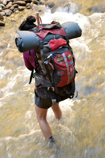Backpacking river crossing