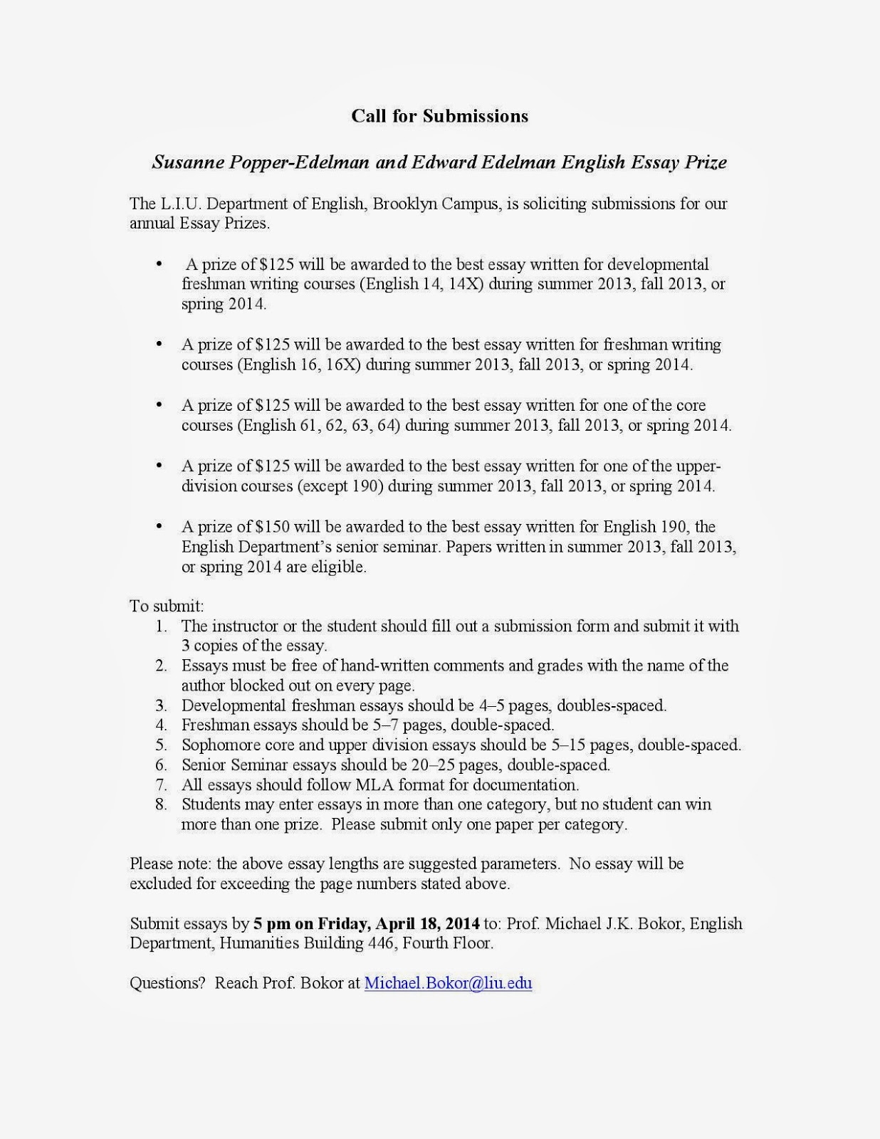 the longest island  call for submissions 2014 popper edelman essay prizes