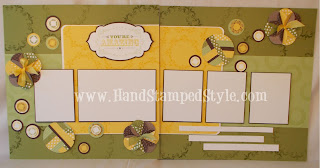 scrapbook layout, scrapping class, folded circle flower, template layout