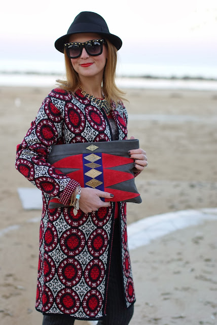 Mohekann Navajo clutch, squirrel sweater, pinstripe pants, Fashion and Cookies, fashion blogger
