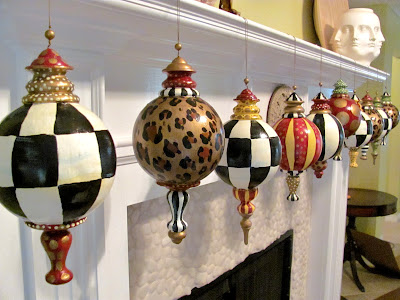 "hand painted set of large 10"" finial christmas ornaments with black and white checks"