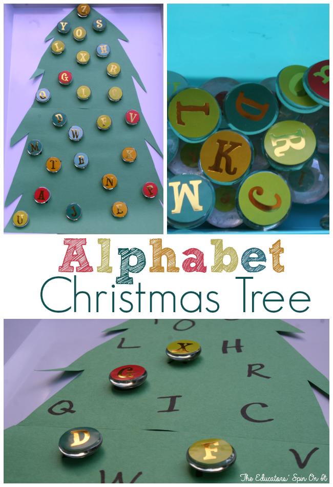 Alphabet christmas tree activity the educators 39 spin on it - Alphabet noel ...