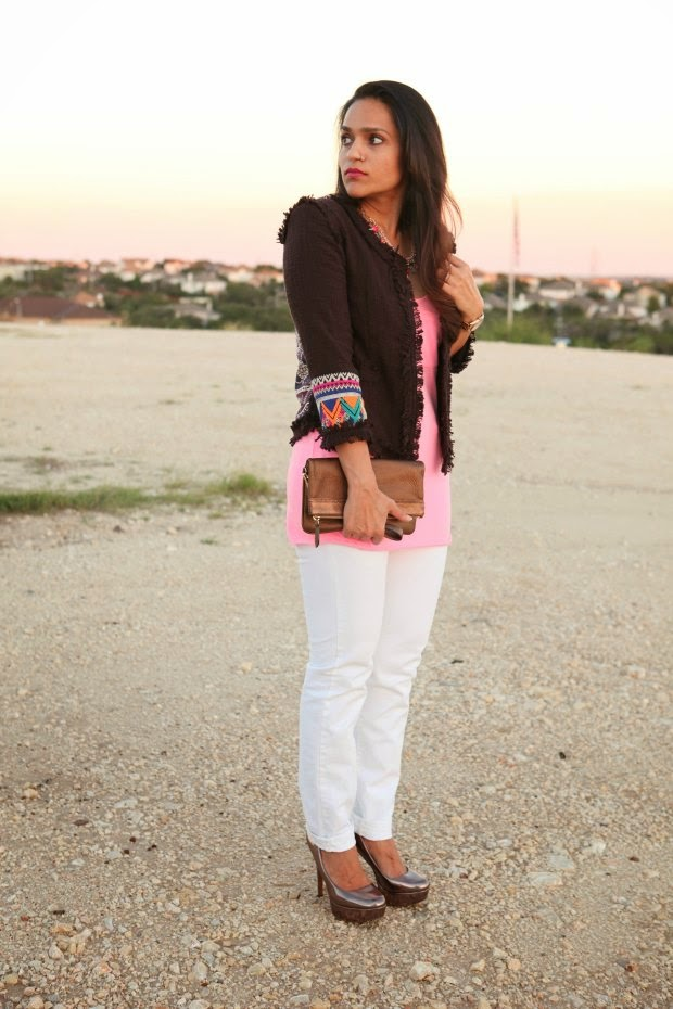 Lulu's Jacket, Victoria Secrets Tank, GAP Jeans, Burberry Clutch, Aldo Sheos, Cracy & Co. Necklace, Tanvii.com