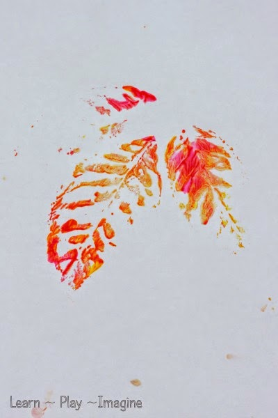 Printing with leaves - fall art for kids