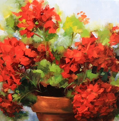 Acrylic Paintings Of Geraniums