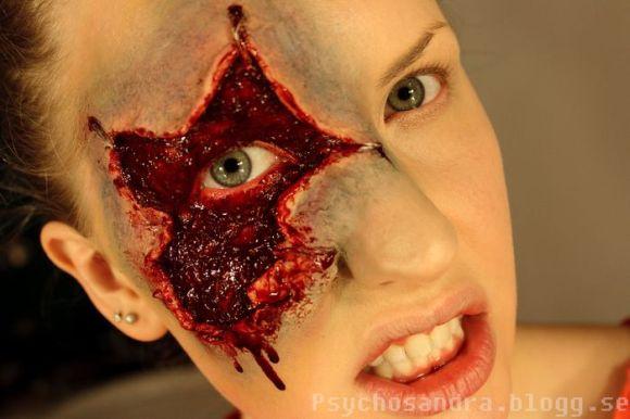 Sandra Holmbom auto-maquiagens criativas e bizarras Ferimento sério