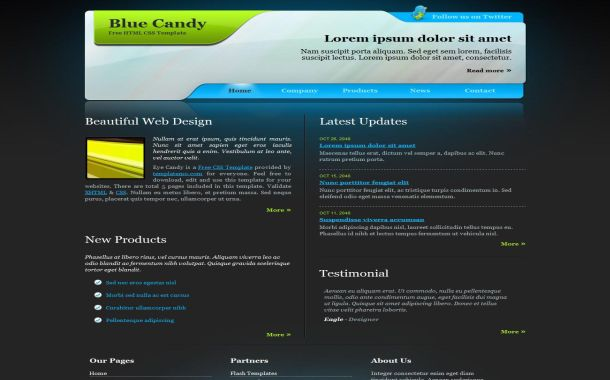 Free Business Abstract Blue CSS Website Template