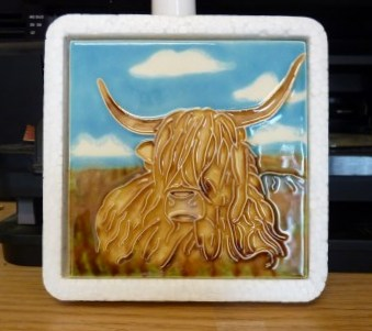 Whoopidooings: Highland Cow hand painted ceramic tile by www.skyetiles.co.uk