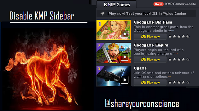 how to disable kmplayer sidebar in windows