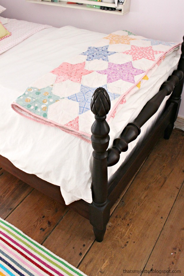 vintage quilt girls bed