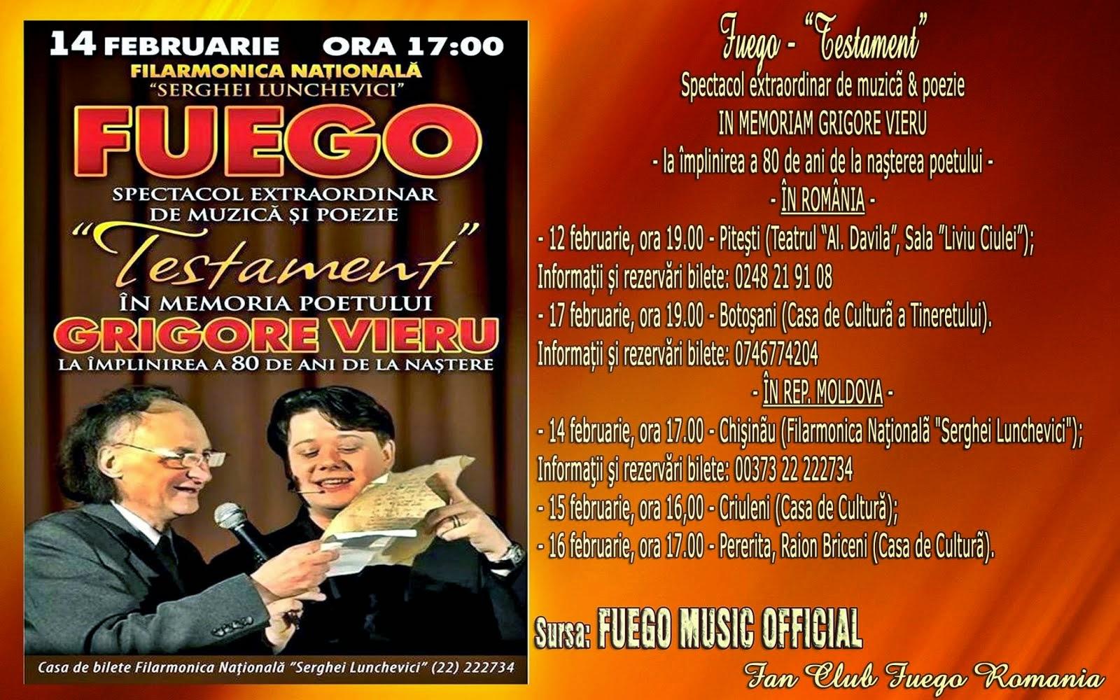 "FUEGO prezintă turneul ""TESTAMENT"", 12 - 17 februarie 2015"