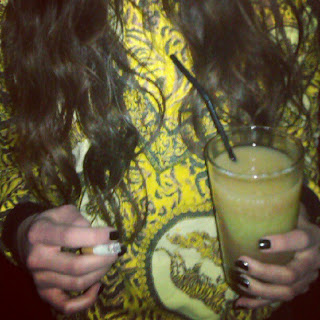 drink, yellow, versace, blouse, smoke