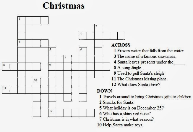 Christmas Crosswords For Kids Printable 1
