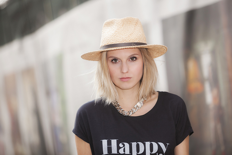Dorfman Pacific wide brim straw hat, happy hour tee, chunky silver ID necklace