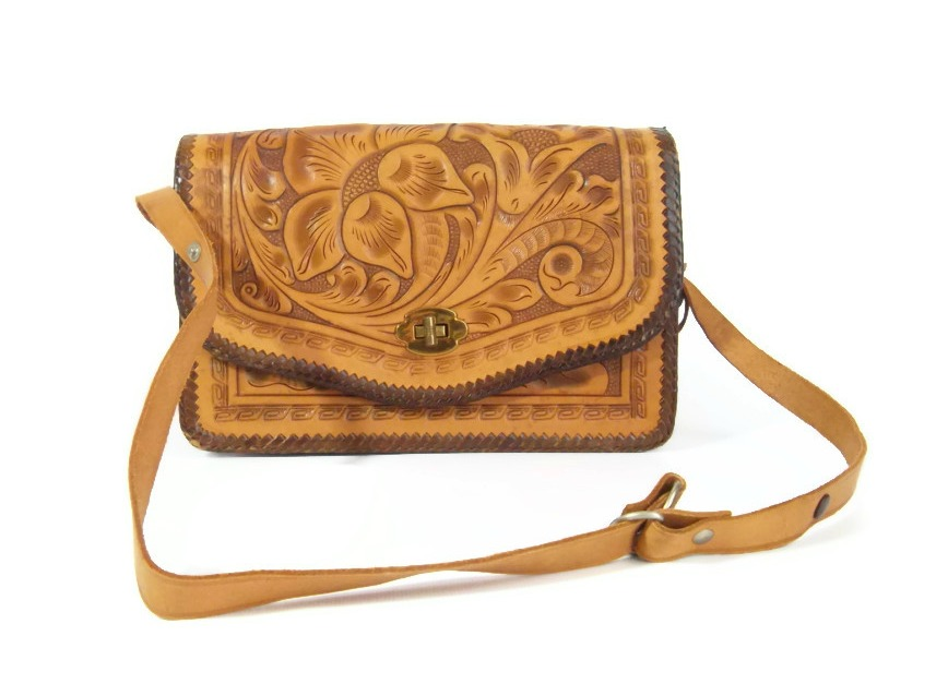 1960s tooled leather handbag