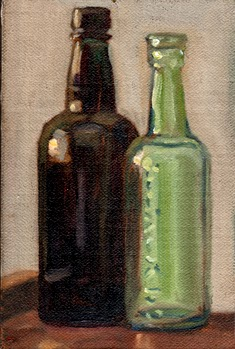 Oil painting of two bottles illuminated by late afternoon sunlight, one black and one transparent.