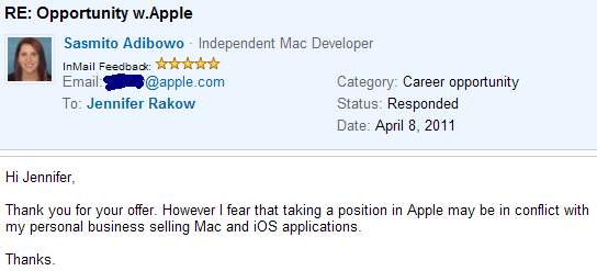 "How I said ""no thank you"" to Apple's job offer"