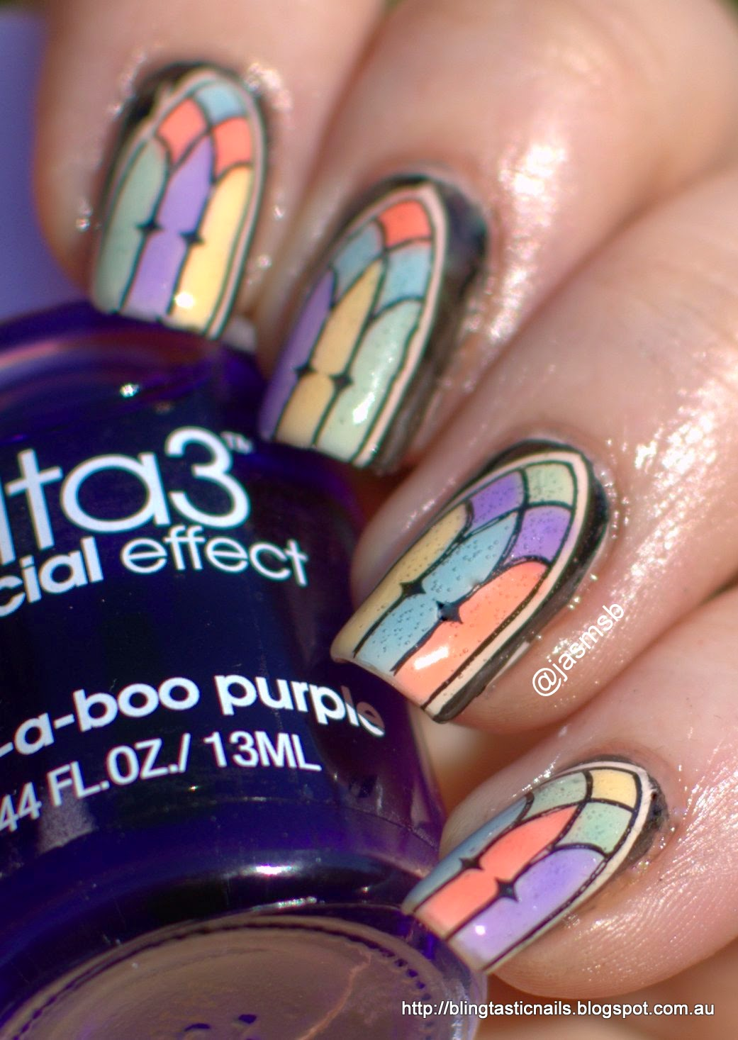 Ulta3 Watercolor Sheer Polish Stained Glass Window Nails