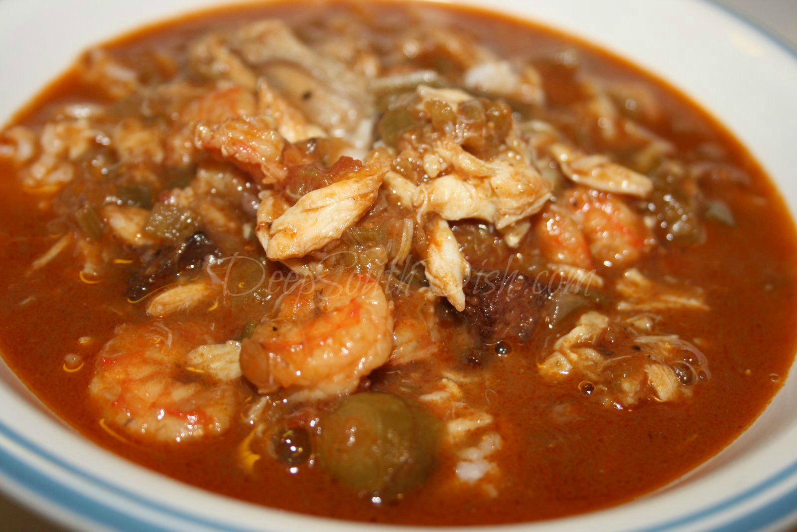 seafood gumbo made with a dark roux, a rich shrimp stock, the ...