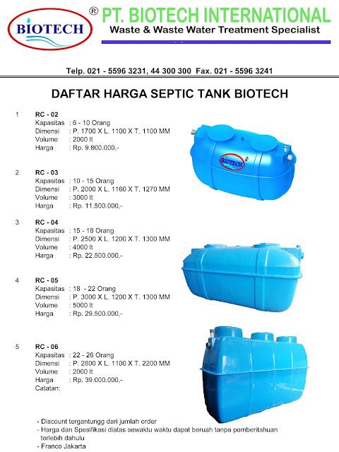 daftar harga septic tank biotech, stp, ipal, sepiteng, sevtik teng, biofil, biotek, toilet portable fibreglass