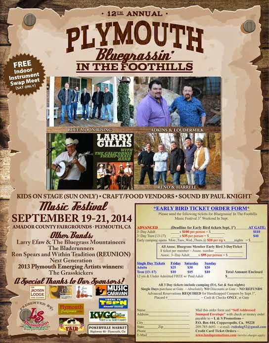 12th Annual Bluegrassin' In the Foothills - Sept 19-21