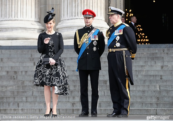 Sophie, Countess of Wessex, Prince Edward, Earl of Wessex and Prince Andrew, Duke of York leave St Paul's Cathedral after a Service of Commemoration for troops who were stationed in Afghanistan