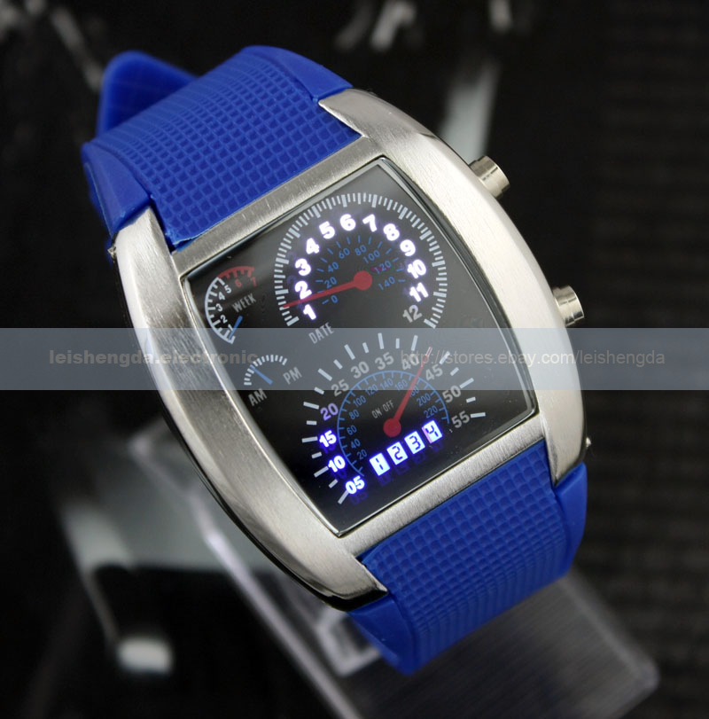 RPM Turbo Dial Blue White Flash LED Watch Gift Mens Lady Sports Car Meter Dial