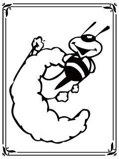 bee style alphabet coloring book c letter