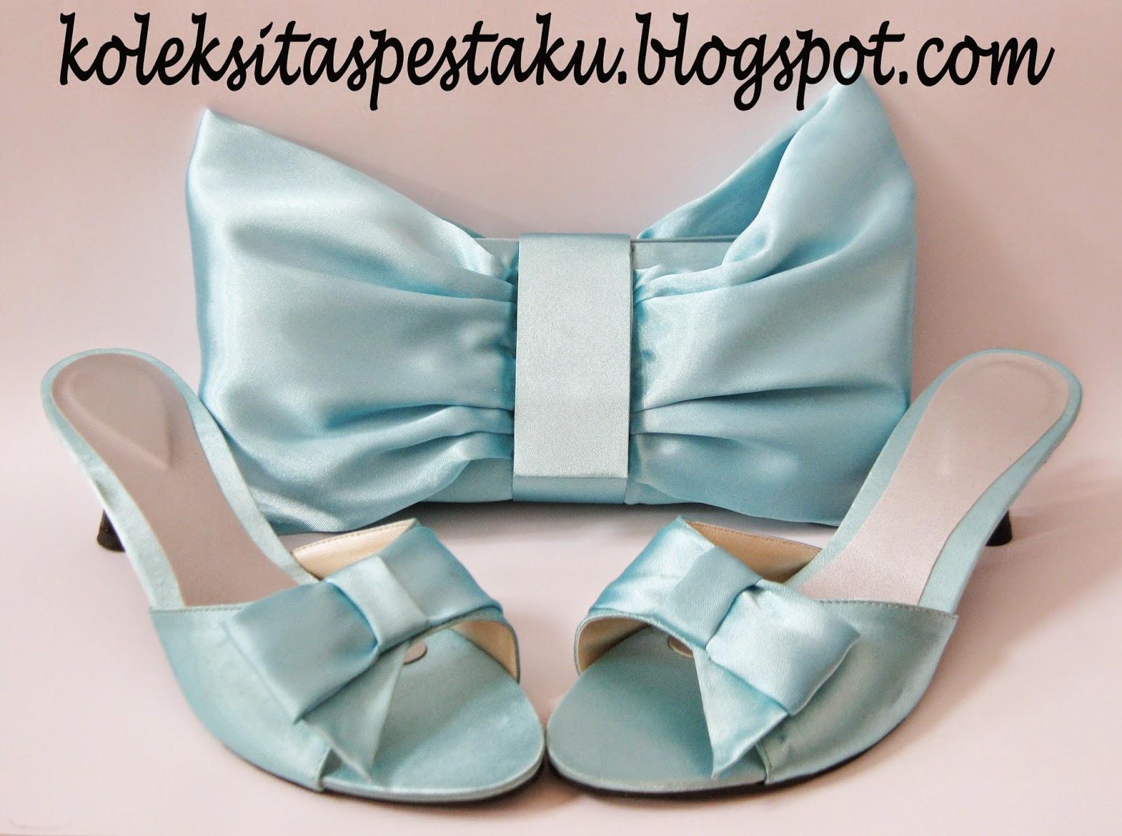 Biru Muda Cantik Elegant Tas Pesta dan Sepatu