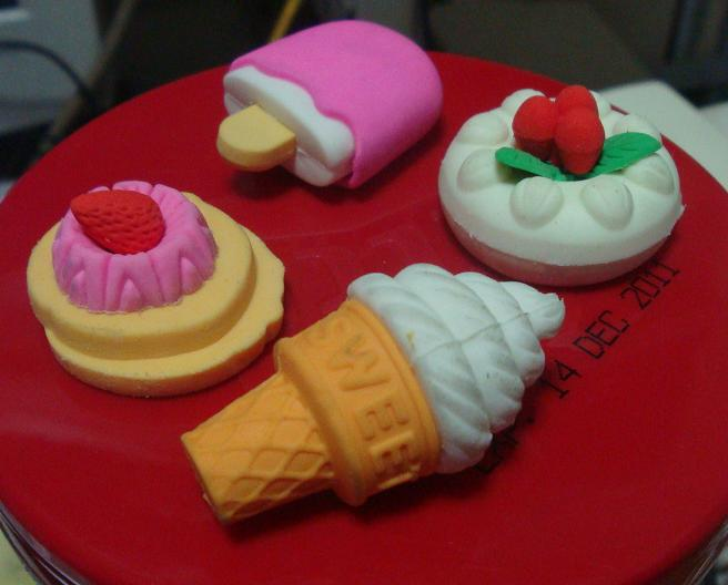 Erasers shaped like desserts