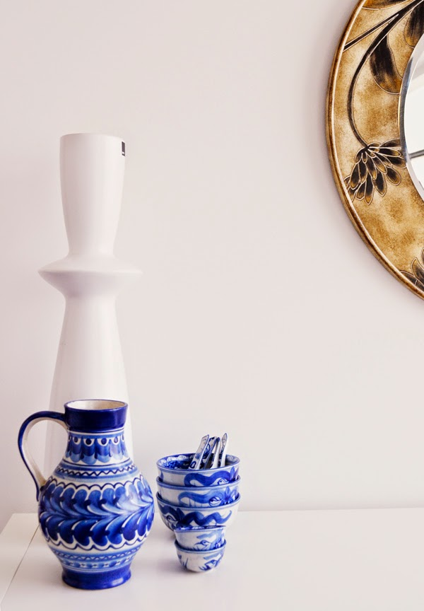 An assortment of ceramic jugs and china bowls which are more decorative than practical.