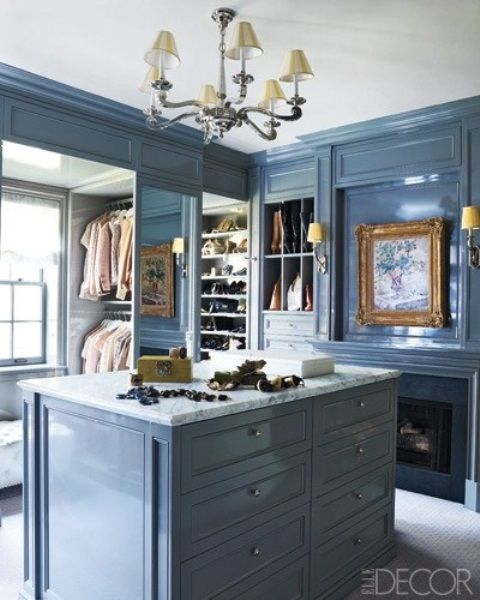 dressing room walk in closet with blue lacquer walls