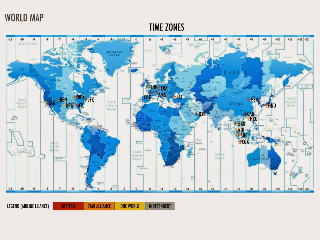 the following map provides information on where the top 20 airports by passengers are located around the world the map also provides key data on timezones