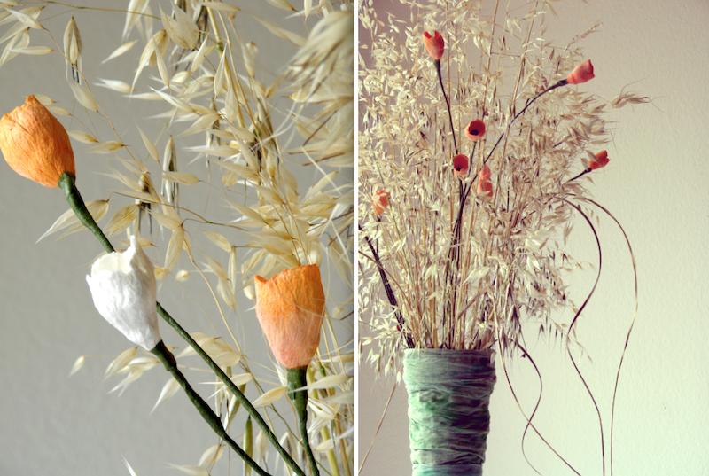 vaso con fiori di carta e fiori secchi