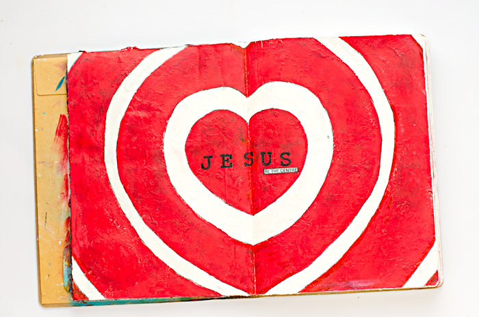 using music to inspire a mixed media  art journal page, Jesus, Be The Centre, and creating a heart shaped target/bullseye