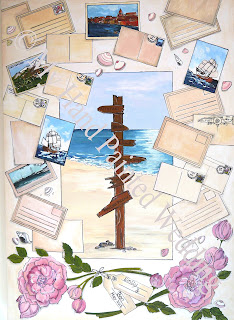 Vintage travel themed guestbook canvas