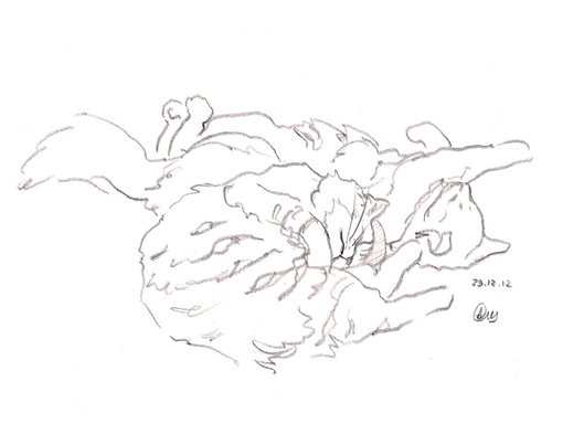 набросок котята