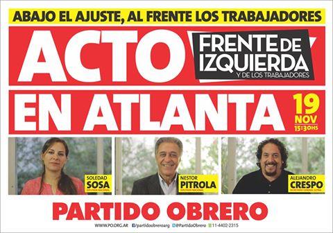 EL 19 TODOS A ATLANTA CON EL FRENTE DE IZQUIERDA