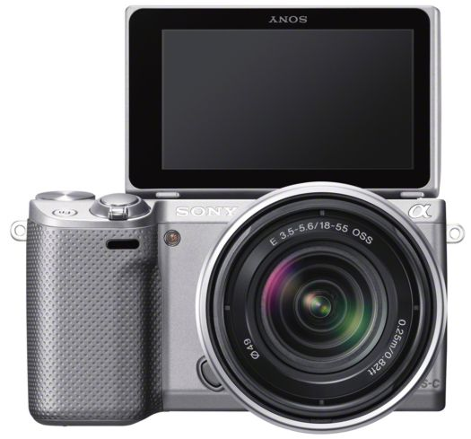 sony nex-5r camera white black silver