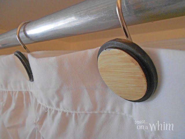 Faux Wood Shower Curtain Hooks | Vintage Farmhouse Bathroom Makeover | Denise on a Whim