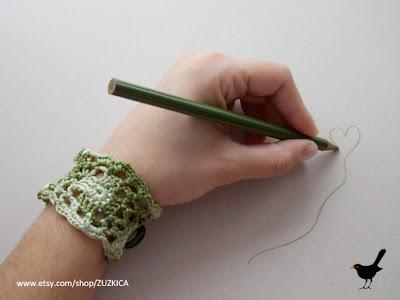 Crochet Green Square Bracelet