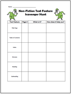 text features scavenger hunt worksheet