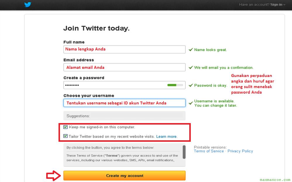 Form pendaftaran akun baru cara membuat Twitter