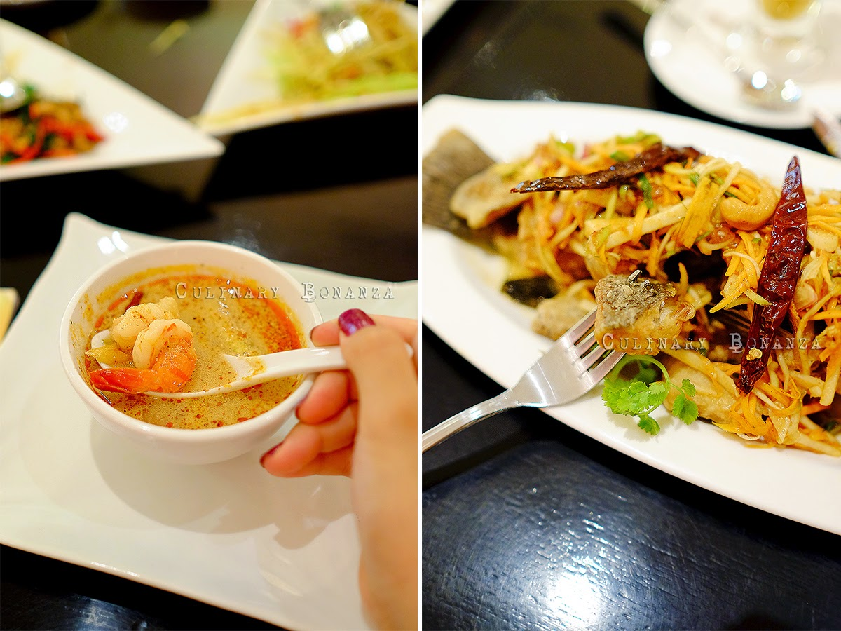 Left: Tom Yum Seafood Soup | Right: Deep-Fried Seabass