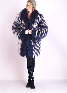 Vintage Yves Saint Laurent navy and white striped fluffy Mongolian fur coat