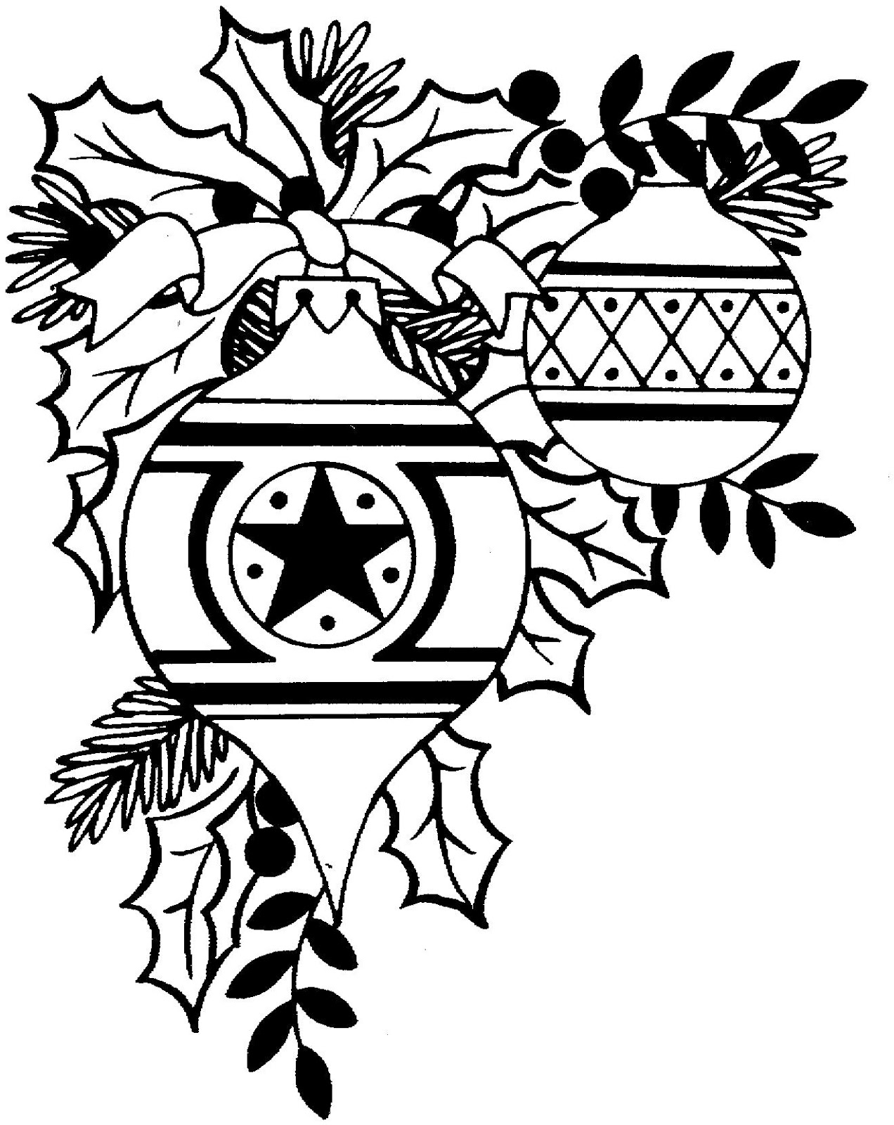 Black And White Christmas Ornament Clipart | New Calendar ...