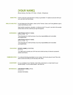 Basic resume green and black, Word